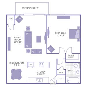 """Bedroom 12' x 13' with walk-in closet. Kitchen 6' x 6'6"""". Dining room 8' x 7'. Living room 15' x 18'. 1 bath. 1 linen closet. 1 closet. Patio/Balcony."""
