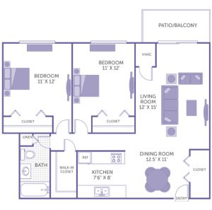 "Bedroom 11' x 12' with closet. Bedroom 11' x 12' with closet. Kitchen 7'6"" x 8'. Dining room 12'6"" x 11'. Living room 12' x 15'. 1 bath. 1 linen closet. 1 walk-in closet. 1 closet. Patio/Balcony."