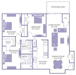 "Bedroom 11' x 12' with walk-in closet. Bedroom 11' x 12' with closet. Bedroom 11' x 12'6"" with closet. Kitchen 14' x 6'5"". Dining room 11'6"" x 16'. Living room 12' x 15'. 2 bath. 1 linen closet. 1 closet. Patio/Balcony."