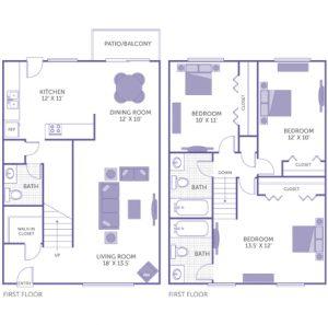 "Bedroom 13'5"" x 12' with closet. Bedroom 12' x 10' with closet. Bedroom 10' x 11' with closet. Kitchen 12' x 11'. Dining room 12' x 10'. Living room 18' x 13'5"". 2 1/2 bath. 1 walk-in closet. Patio/Balcony."